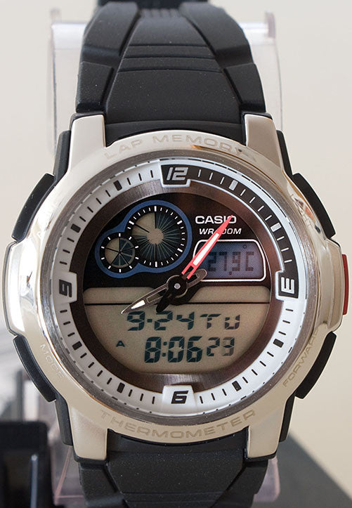 Casio AQF-102W-7BV THERMOMETER World Time 50 Lap Memory Watch