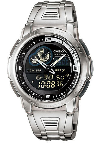 Casio AQF-102WD-1BV THERMOMETER World Time 50 Lap Memory Watch Steel Band