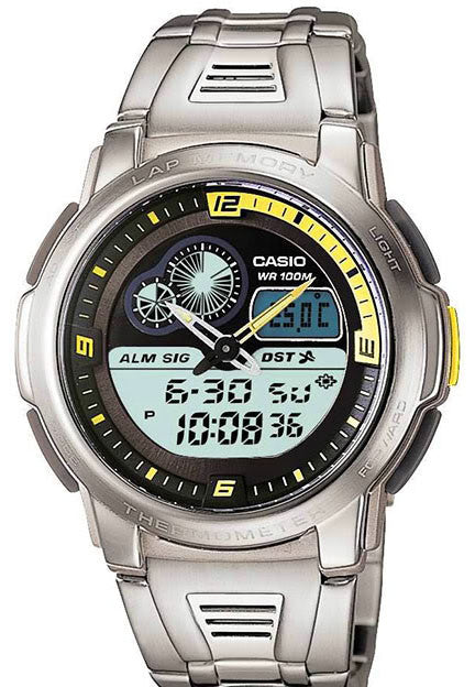 Casio AQF-102WD-9BV THERMOMETER World Time 50-lap Memory Steel Band Watch