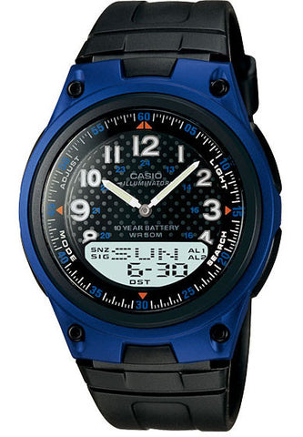 Casio AW-80-2AV Blue 30 Page Databank Duo World Time Ana Digital 3 Alarms Watch