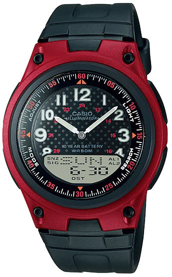 Casio AW-80-4BV Red 30 Page Databank Watch Duo World Time Ana Digital 3 Alarms