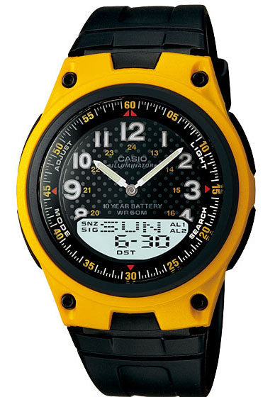 Casio AW-80-9AV Yellow 30 Page Databank Duo World Time Ana Digital 3 Alarms Watch