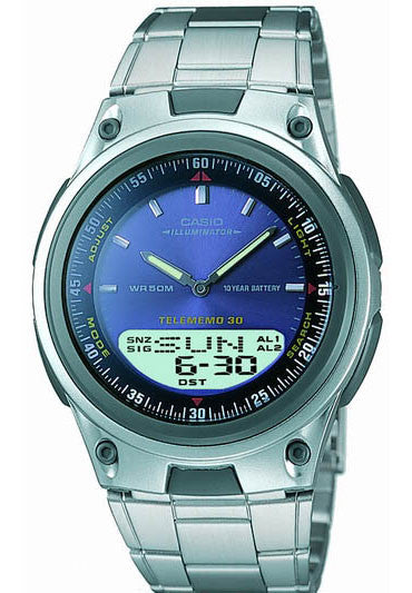 Casio AW-80D-2AV Blue Databank Duo World Time 30 Page Databank Watch Steel Band
