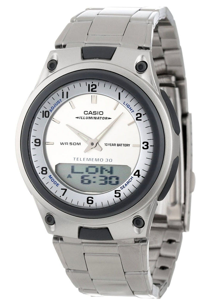 Casio AW-80D-7AV White Databank Duo World Time 30 Page Databank Watch Steel Band