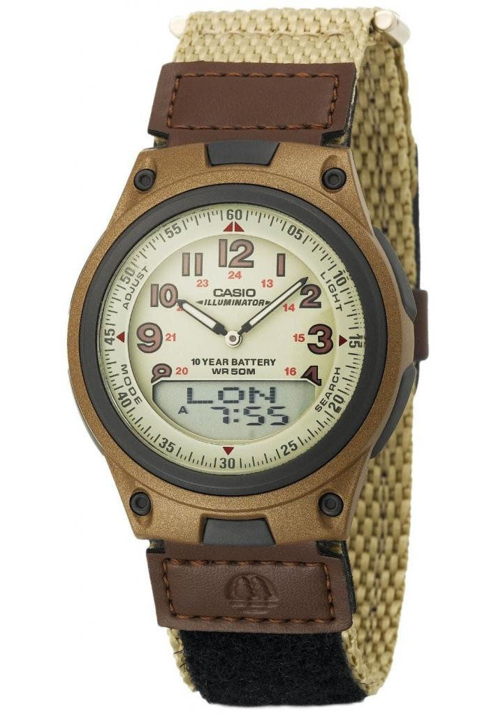 Casio AW-80V-5BV Brown Cloth Band 30 Page Databank Duo World Time Ana Digital 3 Alarms Watch