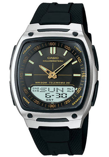 Casio AW-81-1A2V 30 Page Databank Duo World Time Analogue Digital World Tm Watch
