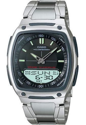 Casio AW-81D-1AV Black Databank Duo World Time 30 Page Databank Watch Steel Band