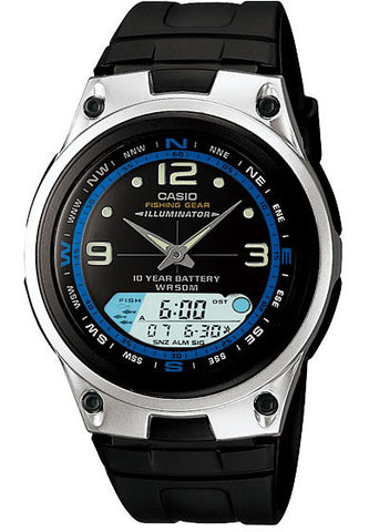 Casio AW-82-1AV Fishing Gear Moon Data 3 Alarms 10 Year Bat Watch