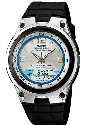Casio AW-82-7AV Fishing Gear Moon Data 3 Alarms 10 Year Bat Watch