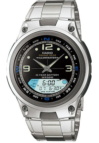 Casio AW-82D-1AV Fishing Gear Moon Data Steel Band 3 Alarms 10 Year Bat Watch