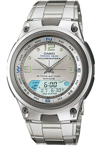 Casio AW-82D-7AV Fishing Gear Moon Data Steel Band 3 Alarms 10 Year Bat Watch