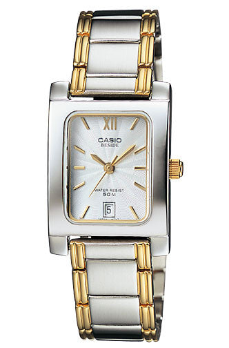Casio BEL-100SG-7AV Beside Ladies Gold Silver Stainless Steel Dress Watch 50M
