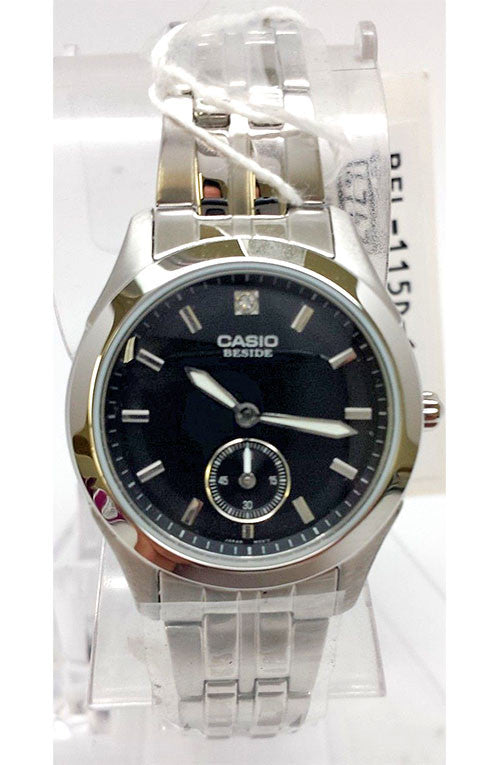 Casio BEL-115D-1A BESIDE Ladies Black Dial Stainless Steel Dress Watch 50M