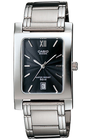 Casio BEM-100D-1A Beside Men's Stainless Steel Analogue Dress Watch 50M Black Dial