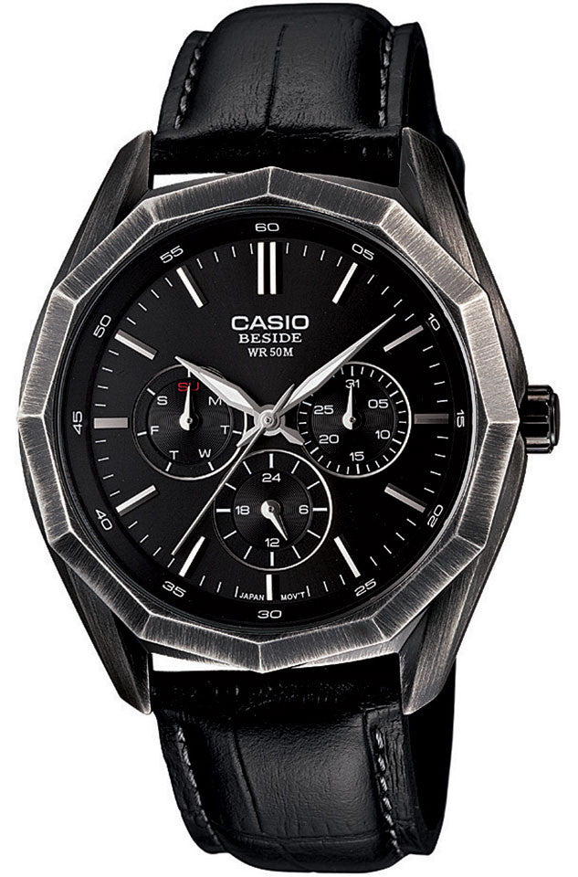 Casio BEM-310BL-1A Mens BESIDE Black Leather Dress Watch 3-Dials BLACK