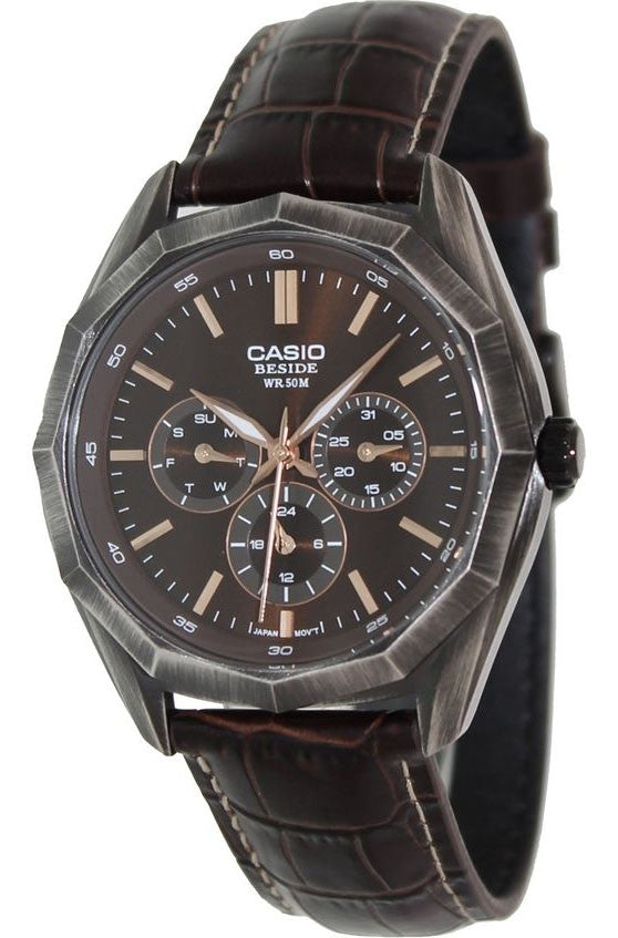 Casio BEM-310BL-5AV Mens BESIDE Brown Leather Dress Watch 3-Dials