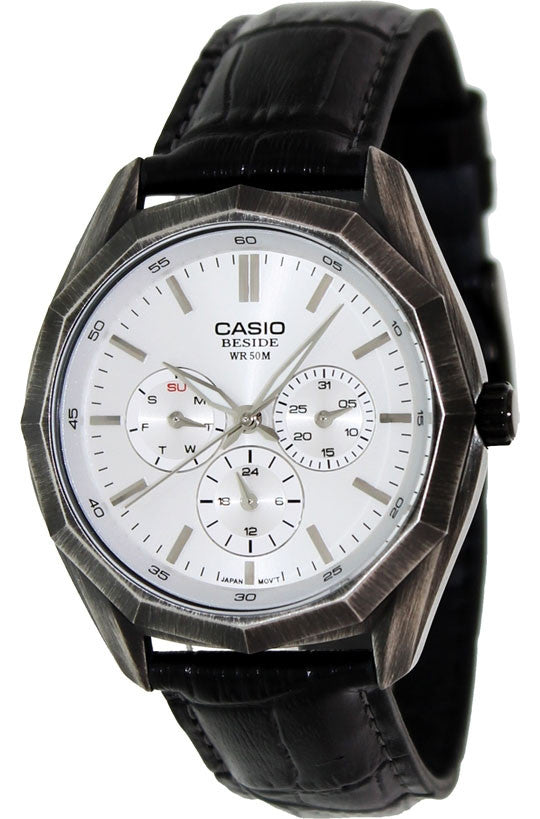 Casio BEM-310BL-7AV Mens BESIDE Black Leather Dress Watch 3-Dials BLACK