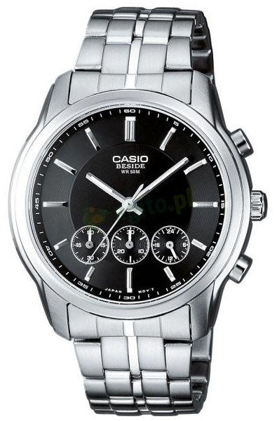 Casio BEM-504D-1A Beside Mens  Chronograph Watch 3-Dials Steel