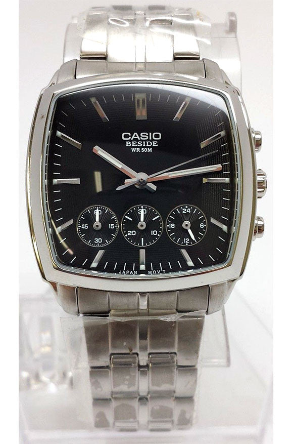 Casio BEM-505D-1A Beside Mens Black Dial Stainless Steel 3 Dial Dress Watch