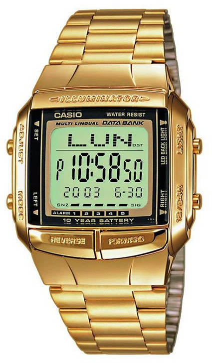 Casio DB-360G-9A Men's Gold Watch 30 Page Databank 13 Languages 10 Year Battery New
