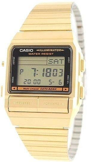 Casio DB-380G-1DF Men's Gold Watch 30 Page Databank Multi-Function Alarms Brand New