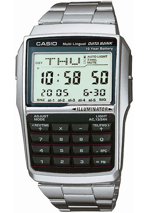 Casio DBC-32D-1A 25 Databank Currency Converter Calculator Watch Steel Band