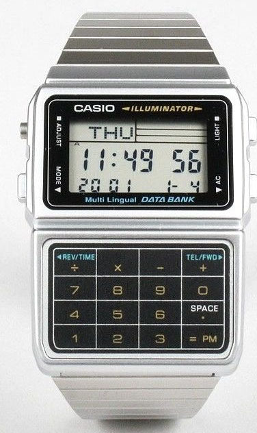 Casio DBC-611-1D Silver Stainless Steel Databank Calculator Watch 5 Alarms NEW