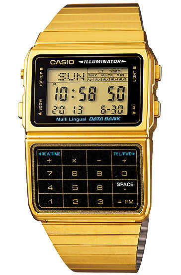 Casio DBC-611G-1D Gold Stainless Steel Databank Calculator Watch 5 Alarms NEW
