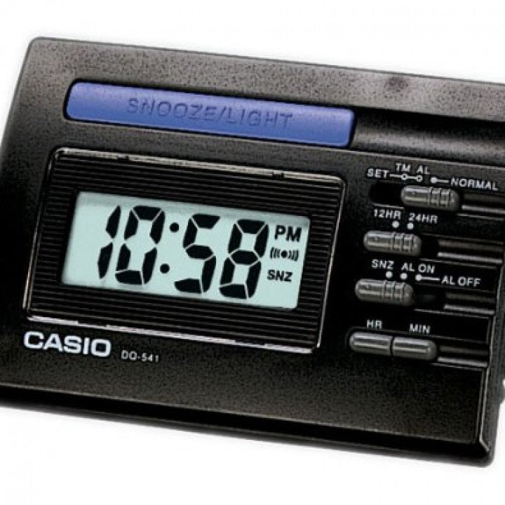 Casio DQ-541-1R Black LED Light Digital Travel Alarm Clock with Snooze NEW