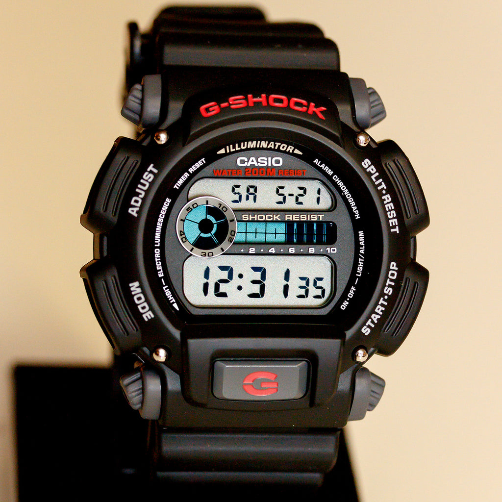 Casio DW-9052-1V Mens G-Shock Chronograph Watch 200M WR Resin Black Sports New
