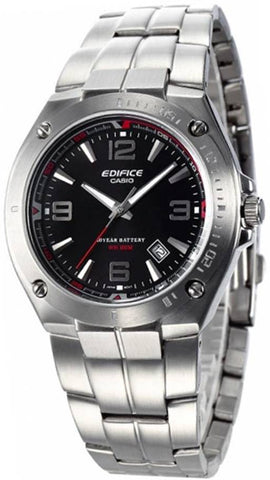 Casio EF-126D-1A Mens EDIFICE Black Analog Watch Stainless Steel Band 100M WR