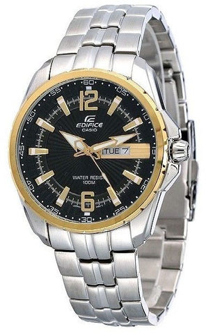 Casio EF-131D-1A9 Mens EDIFICE Gold Analog 2 Tone Watch Stainless Steel Band 100M WR