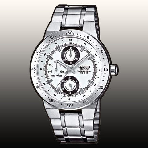 Casio EF-314D-7AV Men's Edifice Stainless Steel Watch White Dial Multi-function