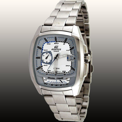 Casio EF-321D-7AV Men's Edifice Stainless Steel Square Watch White Dial Multi-function