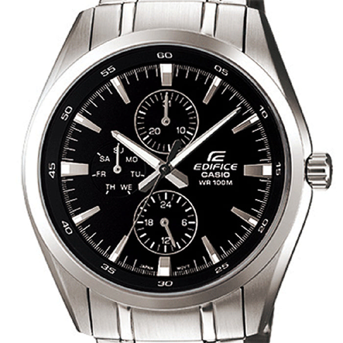 Casio EF-338D-1A Men's Edifice Black Analog Watch Steel Multi-Dials 100M WR