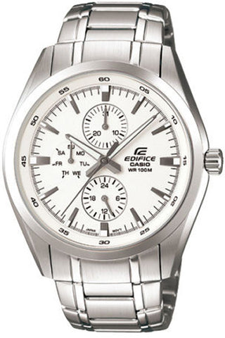 Casio EF-338D-7A Men's Edifice White Analog Watch Steel Multi-Dials 100M WR