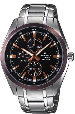 Casio EF338DB-1A Edifice Mens 100M Stainless Steel Watch 100M WR