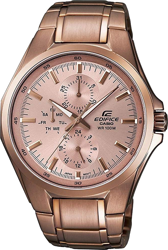 Casio EF-339G-9A Men's Edifice ROSE GOLD Analog Watch Steel Multi-Dial 100M WR