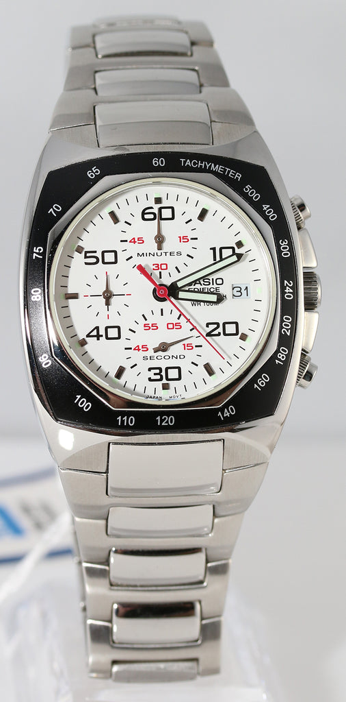 Casio EF-505D-7A Men's Edifice White Analog Watch Steel Multi-Dials 100M WR Stopwatch