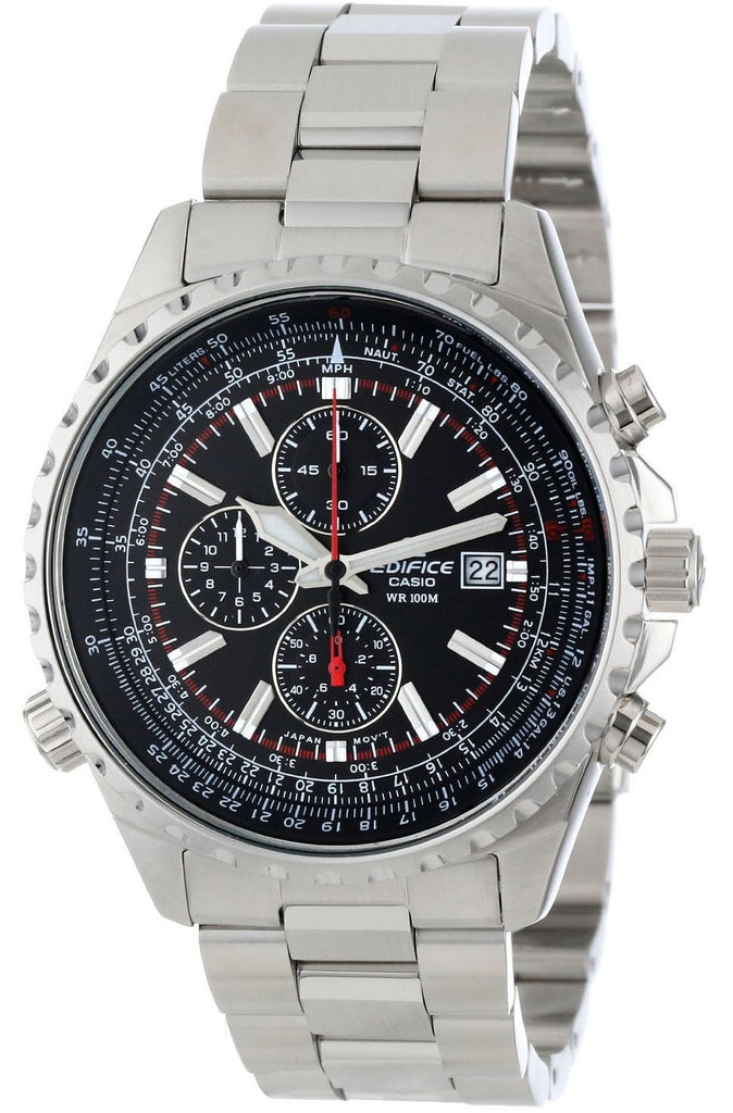 Casio EF-527D-1A Edifice Mens Black Dial 100M Stainless Steel Chronograph Watch New