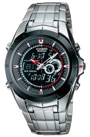 Casio EFA-119BK-1A Edifice Mens 100M Stainless Steel Dress Watch Thermometer
