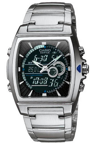 Casio EFA-120D-1A Edifice Mens 100M Stainless Steel Dress Watch Thermometer