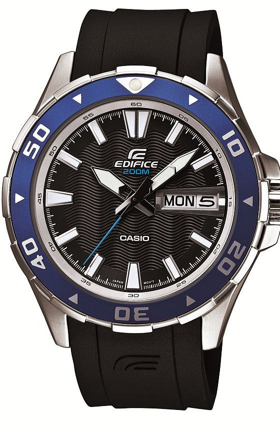 Casio EFM-100-1A Edifice Mens Black Blue 200M Diver's Sports Watch