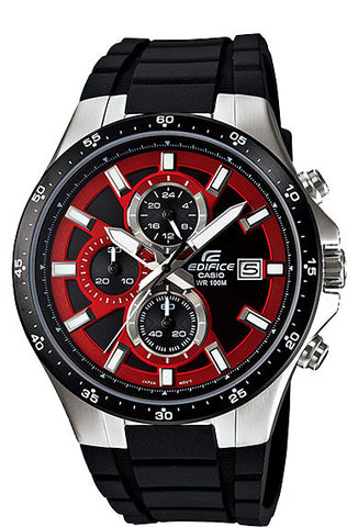 Casio EFR-519-1A4V Edifice Men's Watch Black Resin Red Dial 100M WR Stopwatch