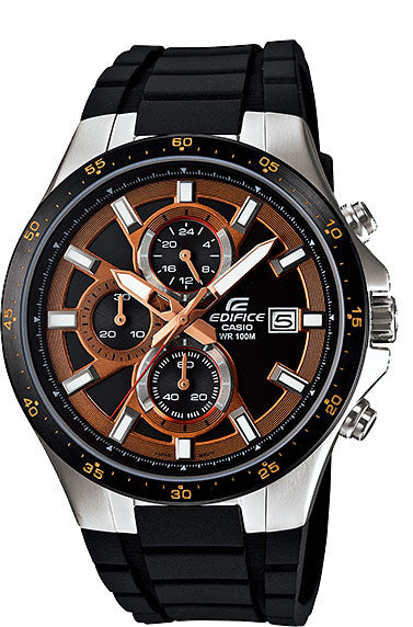 Casio EFR-519-1A5V Edifice Men's Black Resin Red Dial 100M WR Watch Stopwatch