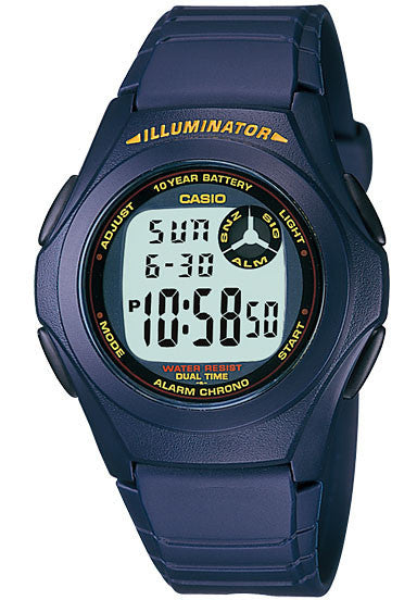 Casio F-200W-2A Digital Illuminator 2 Time-Zones Watch