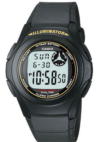 Casio F-200W-9A Digital Illuminator 2 Time-Zones Watch