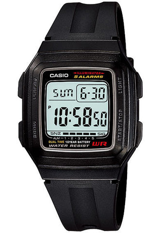 Casio F-201WA-1A Digital Illuminator 2 Time Zones 10 Year Battery Watch