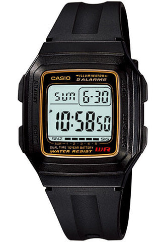 Casio F-201WA-9A Digital Illuminator 2 Time Zones 10 Year Battery Watch