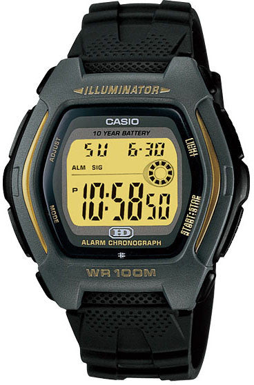 Casio HDD-600G-9AV Mens 100M Digital Watch Sports Alarm Chronograph 10 YEAR BATTERY